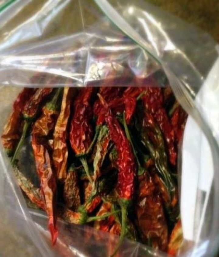 We took some of our previously dried assorted peppers and crushed them up in a bag. Jalapeño, cayenne and other peppers.