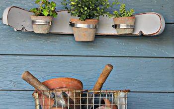 Re-Purposed Chair Back Flowerpot Holder