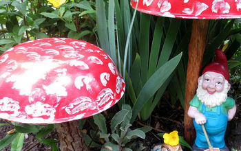 start an enchanted garden with a homemade toadstool, crafts, flowers, gardening, repurposing upcycling, Create a few garden art toadstools to set the scene for your enchanted garden