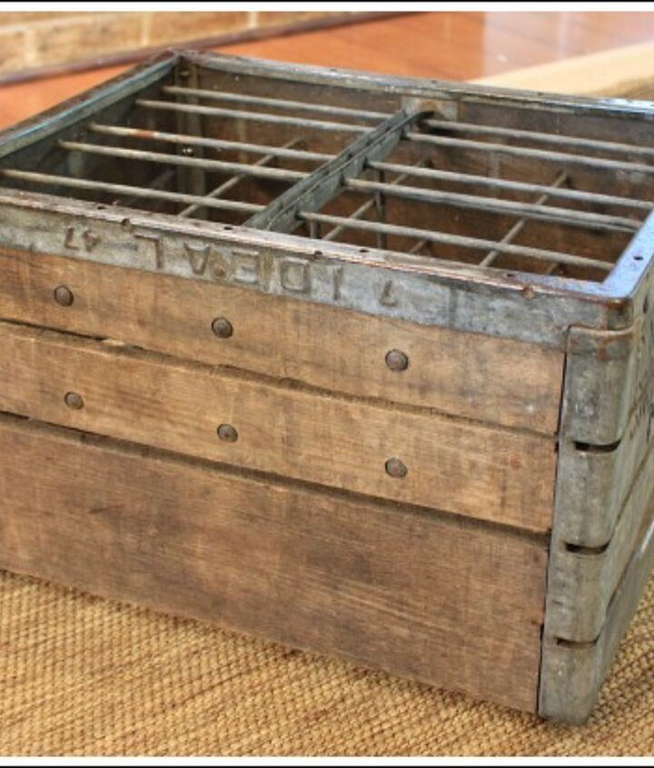 So off to antique and junk stores we went. We found this amazing vintage milk crate for $25, and thought it would make a great ottoman.