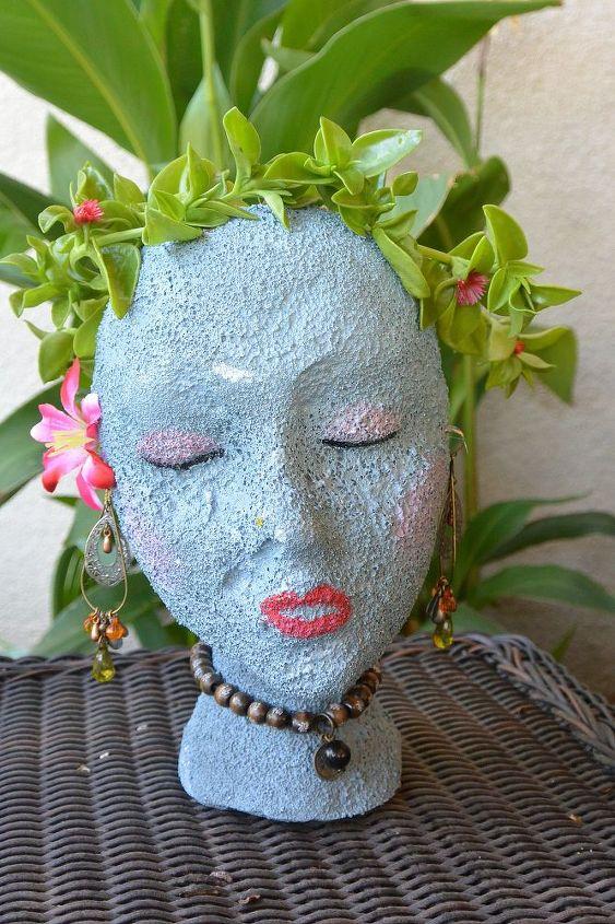 My pretty lady made from a  Styrofoam head.