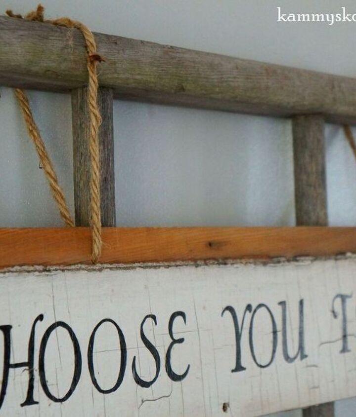 striking wall decor using old wood siding and a ladder, diy, repurposing upcycling, wall decor