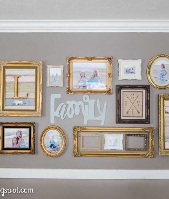 gold frame gallery wall, wall decor