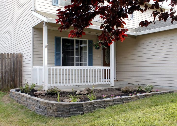 up your curb appeal with a stunning retaining wall, concrete masonry, curb appeal, gardening, outdoor living, raised garden beds