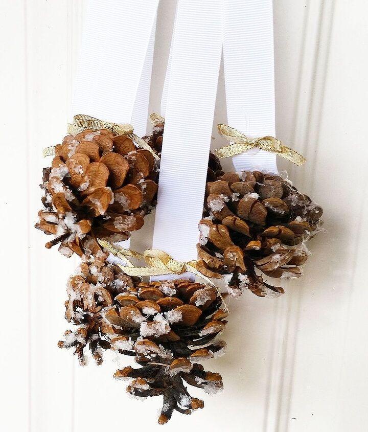 snowy pinecone door hanger, crafts, doors