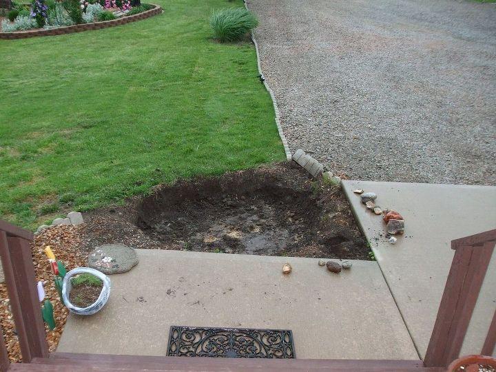 Hubby had gotten started digging when we got rain...