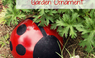 bowling ball gt ladybug garden upcycle, crafts, gardening, repurposing upcycling