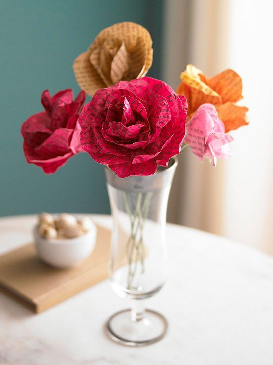 4. Old Book Pages - I am almost positive you could do  this with news papers also! What a great idea to add some finesse and a splash of color to a room. I really love how these roses turned out.  They are beautiful!