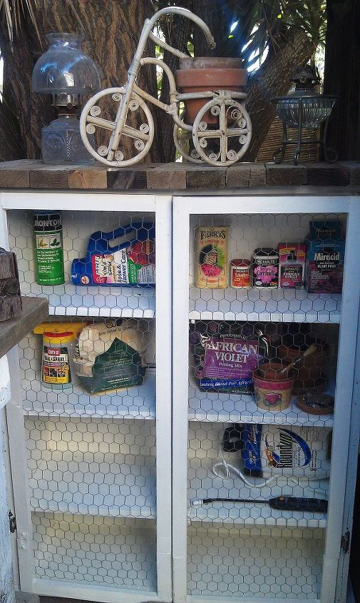I used chickenwire instead of solid doors so I could easily see my garden and pond items.