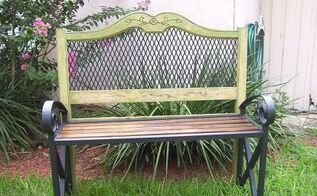 headboard garden bench, diy, outdoor furniture, outdoor living, painted furniture, repurposing upcycling, The finished bench
