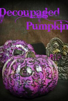 decoupaged pumpkins for halloween, crafts, decoupage, halloween decorations, seasonal holiday decor
