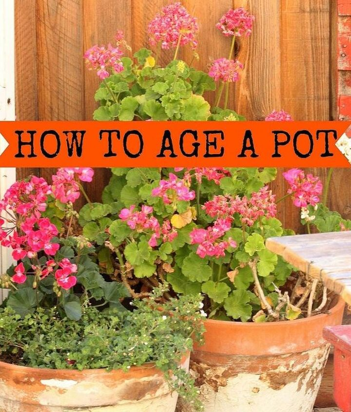 Using old Terra Cotta pots and Joint Compound, you can create your own chippy, aged pots that only get better each year.  http://www.redouxinteriors.com/2013/06/the-great-junque-outdoors/