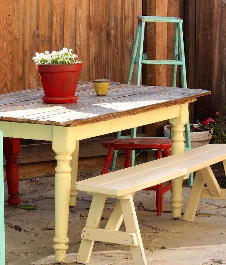 Old Farm Table that was free to me gets a new look with reclaimed roadside found planks to top it off http://www.redouxinteriors.com/2012/03/roadkill-rescue-5-roadside-plank-topped-table/