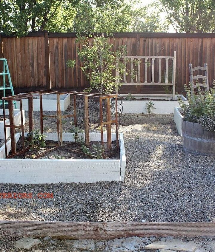 Junk collected from road side finds makes it way into my garden to support vegetables growing instead of traditional garden supports. http://www.redouxinteriors.com/2013/05/trashy-wednesday-and-the-fun-continues/