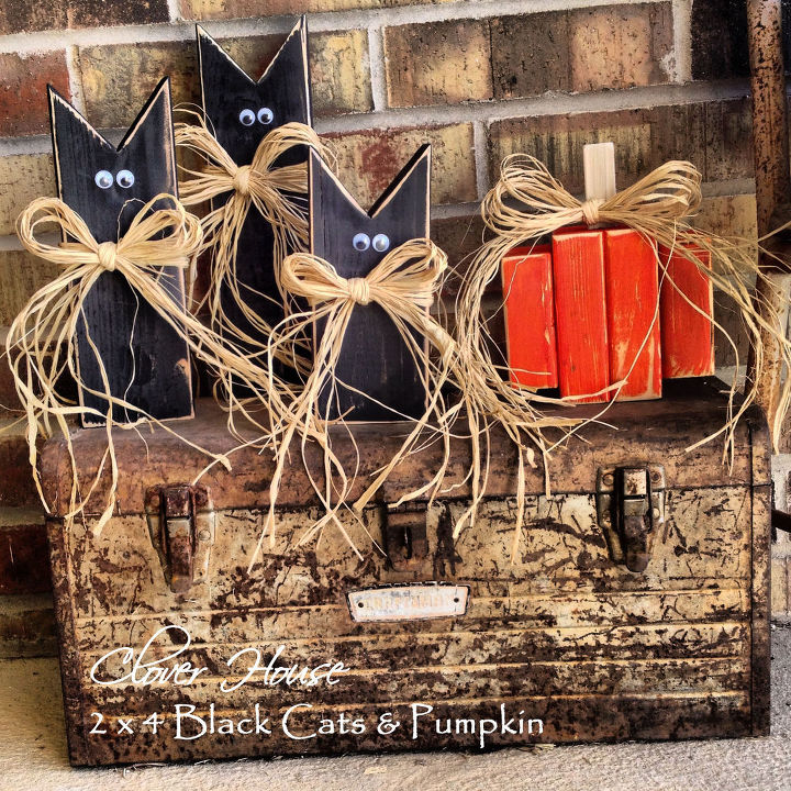 2x4 black cats pumpkins, crafts, halloween decorations, seasonal holiday decor, thanksgiving decorations, 3 sizes of the black cats and one pumpkin to join them
