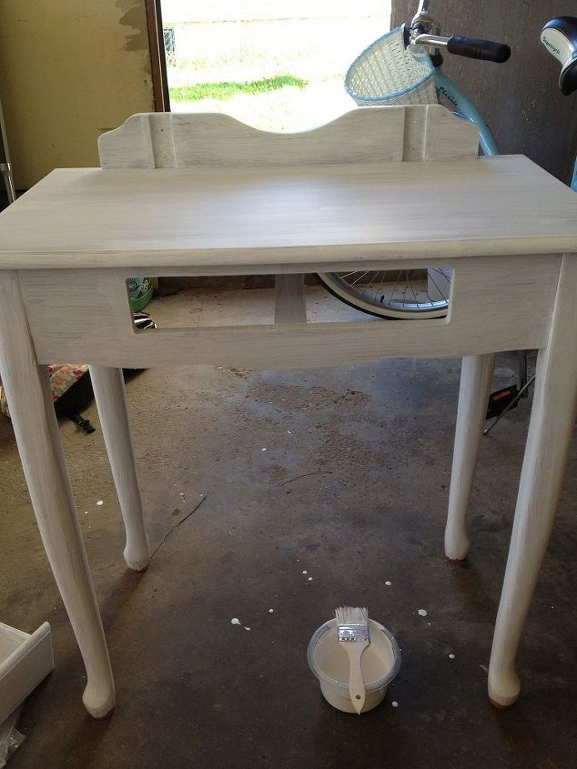 she wanted all her furniture white… chalk paint- a home-made recipe from a good friend, Larissa at Prodigal Pieces.