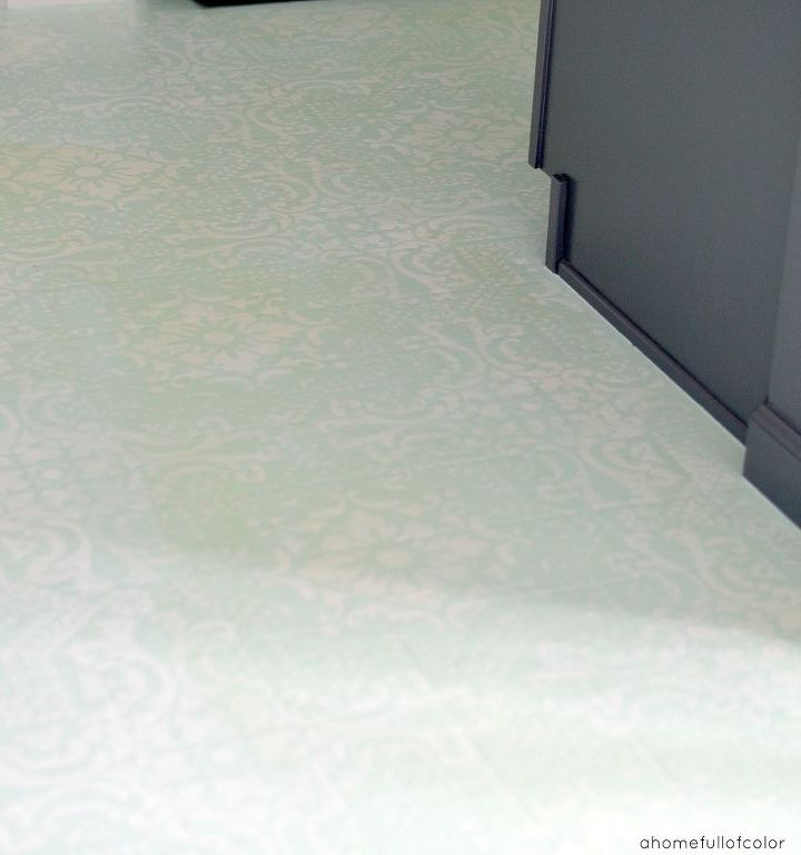 Diy painted and stenciled linoleum floor hometalk for Paint linoleum tile floor