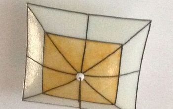 farmhouse light fixture transformed into faux stain glass, lighting, Transformation faux stain glass