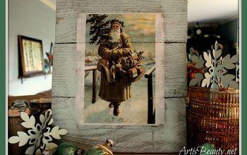 Vintage Santa Christmas Decor Made From Old Pallets #HolidayCheer