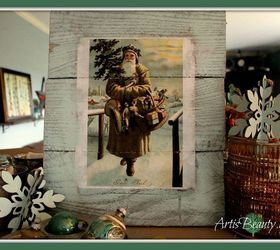 Vintage Santa Christmas Decor Made From Old Pallets And A Free Graphic, Living  Room Ideas