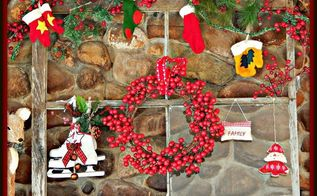 rustic christmas mantle from an old window, christmas decorations, repurposing upcycling, seasonal holiday decor, wreaths, I found this beat up old window and decided to use it for my centerpiece I added skates wreath mittens and stocking for a festive look