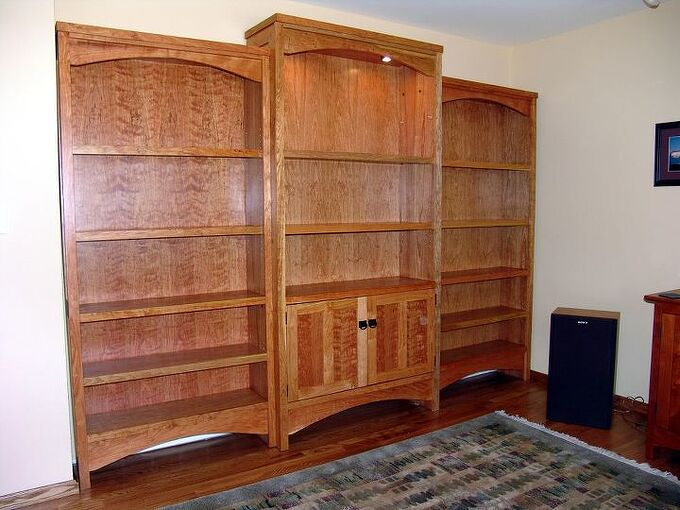 lori s bookcase, kitchen cabinets, shelving ideas, woodworking projects, semi built in bookcase in cherry