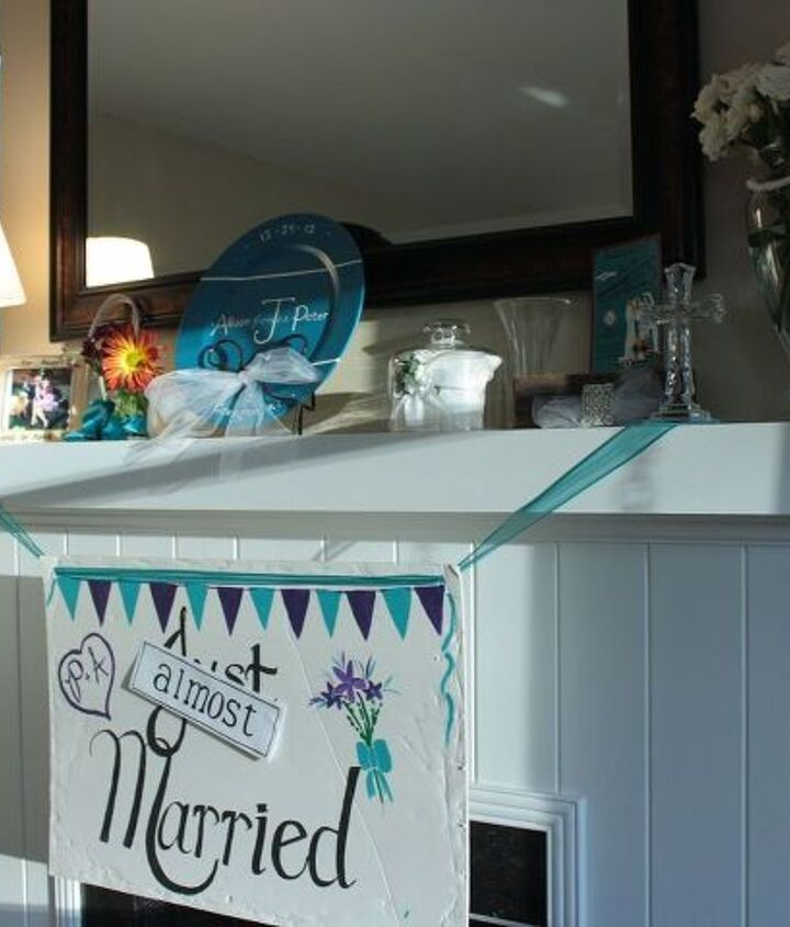 A Just Married sign that has been passed down through the family served as an easy centerpiece.