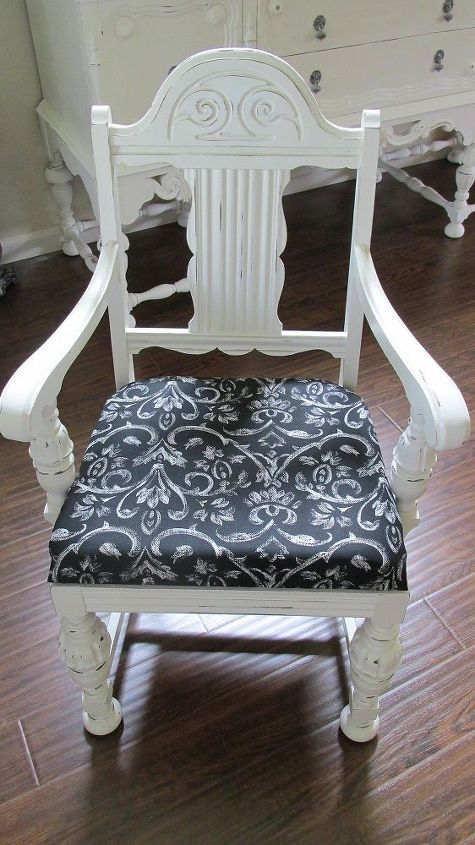 """AFTER: Used new 2"""" foam, new heavy duty whimsical (almost painted look) black & white fabric to re-upholster."""