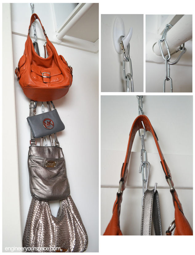 Diy hanging purse organizer hometalk for Hooks to hang purses