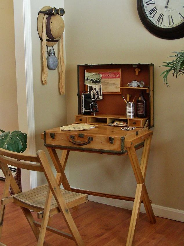 Extreme upcycle the suitcase desk hometalk - Upcycling ideas for furniture ...