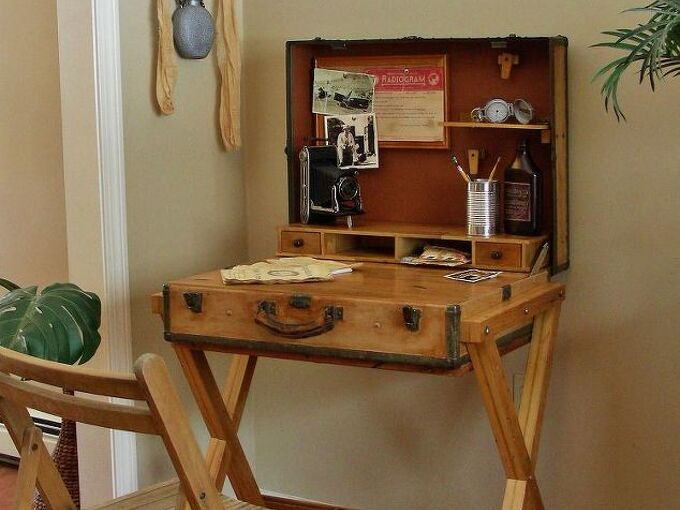 extreme upcycle the suitcase desk, painted furniture, repurposing upcycling, The Hemingway Desk