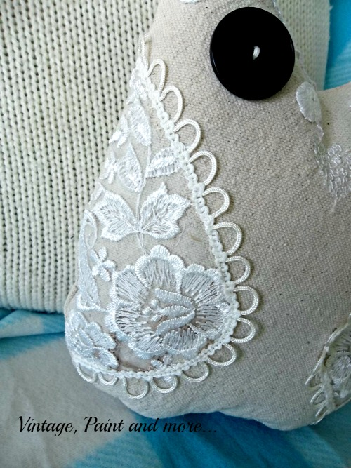 Embellished it by handsewing some lace and buttonhole looping on