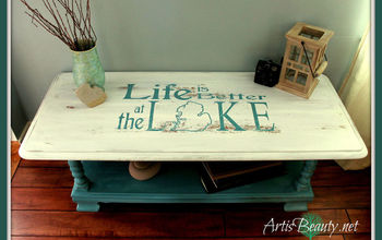 "BEACH HOUSE BEAUTY ""Life is Better at the Lake"" Coffee Table Makeover"