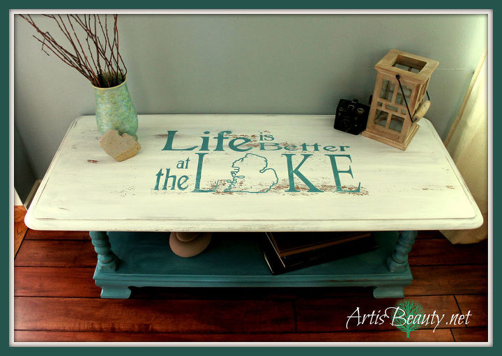 "My finished ""life is better at the lake"" Coffee Table#springideas #firstdayofspring#beachhouse #lakehouse"
