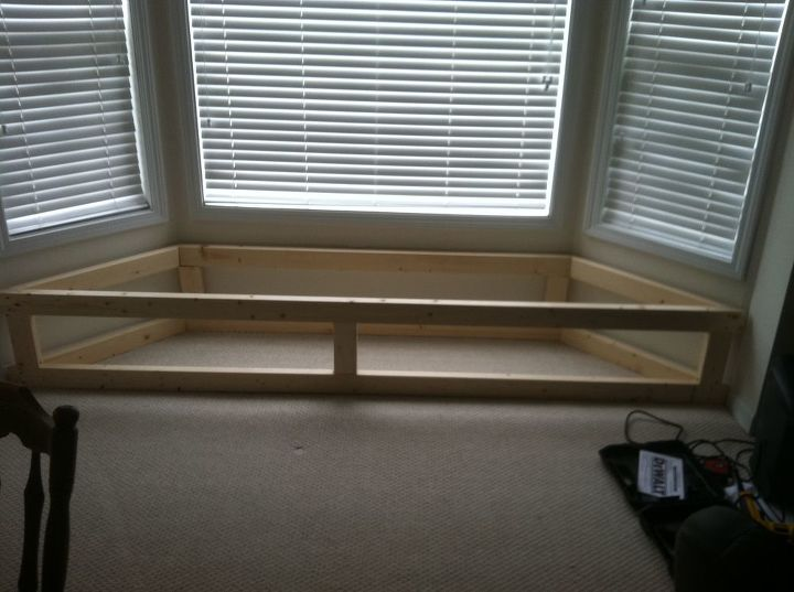 bay window flip top storage bench, storage ideas, woodworking projects,  Framed out with