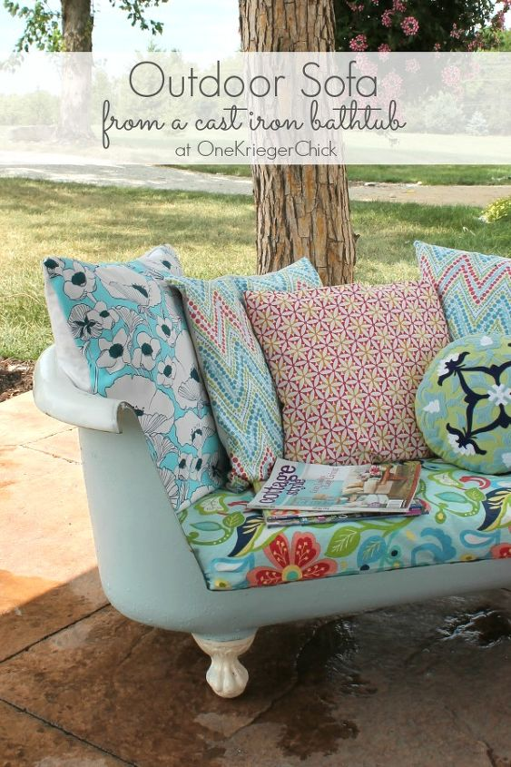 Cast Iron Bathtub Turned Outdoor Sofa | Hometalk