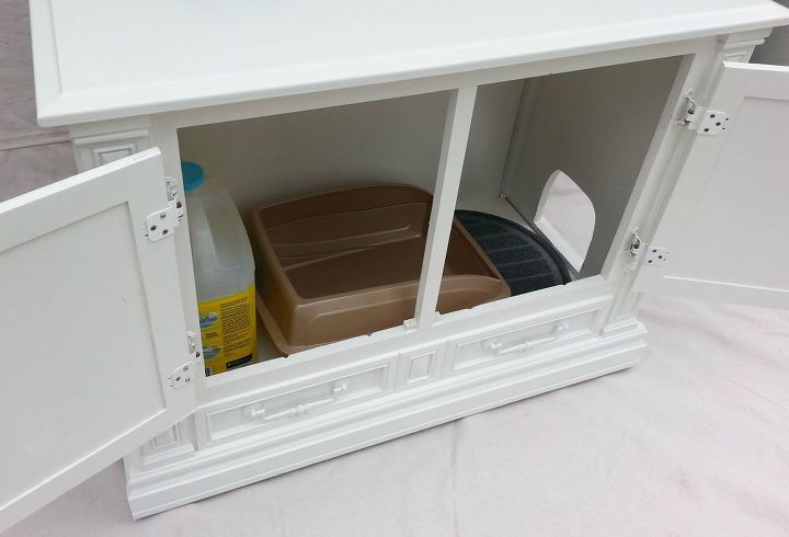 cat litter box hideaway, painted furniture, pets animals, repurposing upcycling