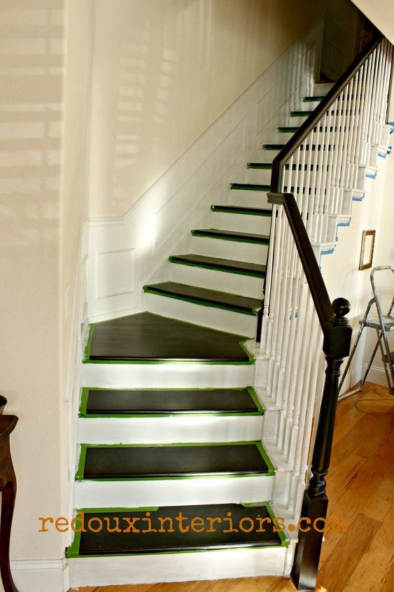 How To Paint A Staircase Black And White With All The