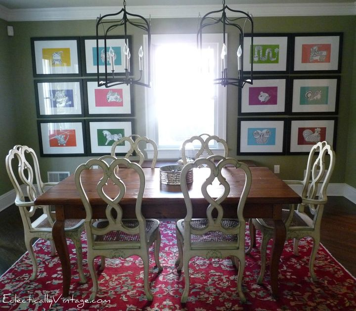 Be creative - coloring book pages as art! http://eclecticallyvintage.com/2011/11/dining-room-tour-fun-art-five-vintage-collections-2/