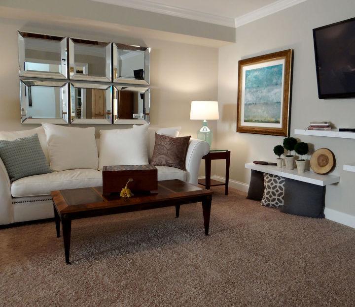 Seating area, fold out sofa near TV