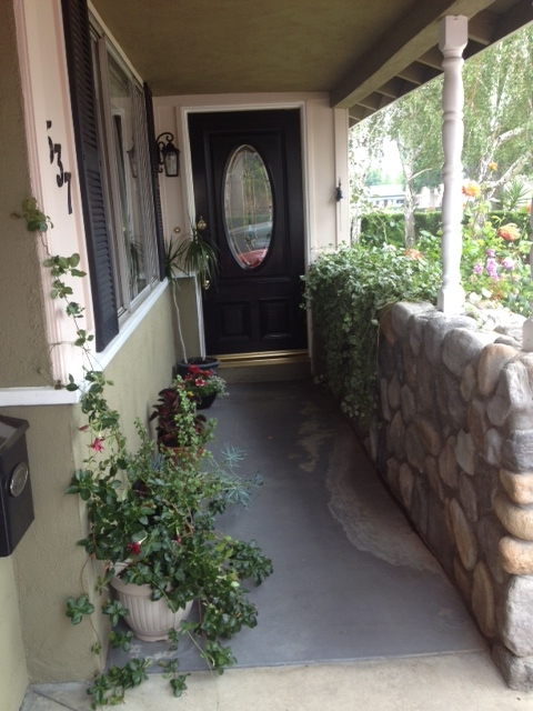 help with ugly concrete entry, concrete masonry, decks, I need advice on covering the chipped painted concrete that s not pricey