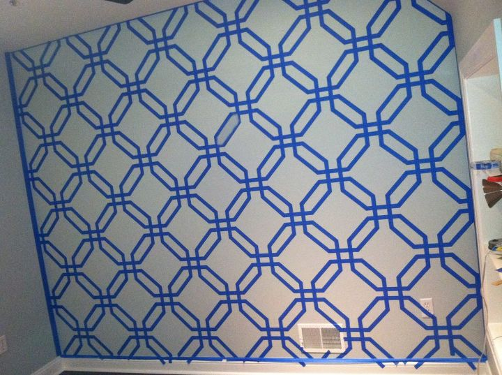 geometric paint design, bedroom ideas, home decor, 6 hrs of taping off hexagons