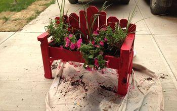 bench planter box rustic, container gardening, flowers, gardening, repurposing upcycling