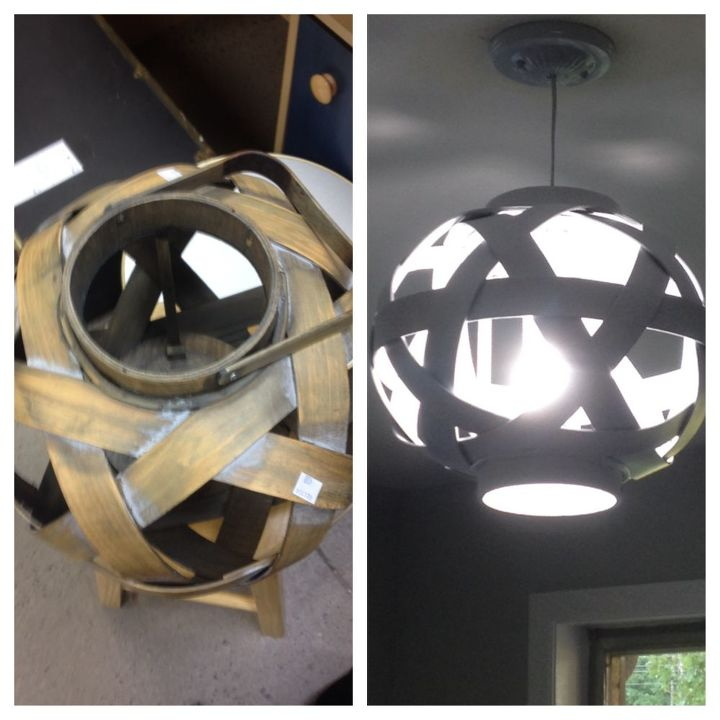 light fixture basket repurpose, diy, lighting, painting, repurposing upcycling