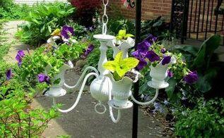 chandelier flower planter diy, flowers, gardening, repurposing upcycling