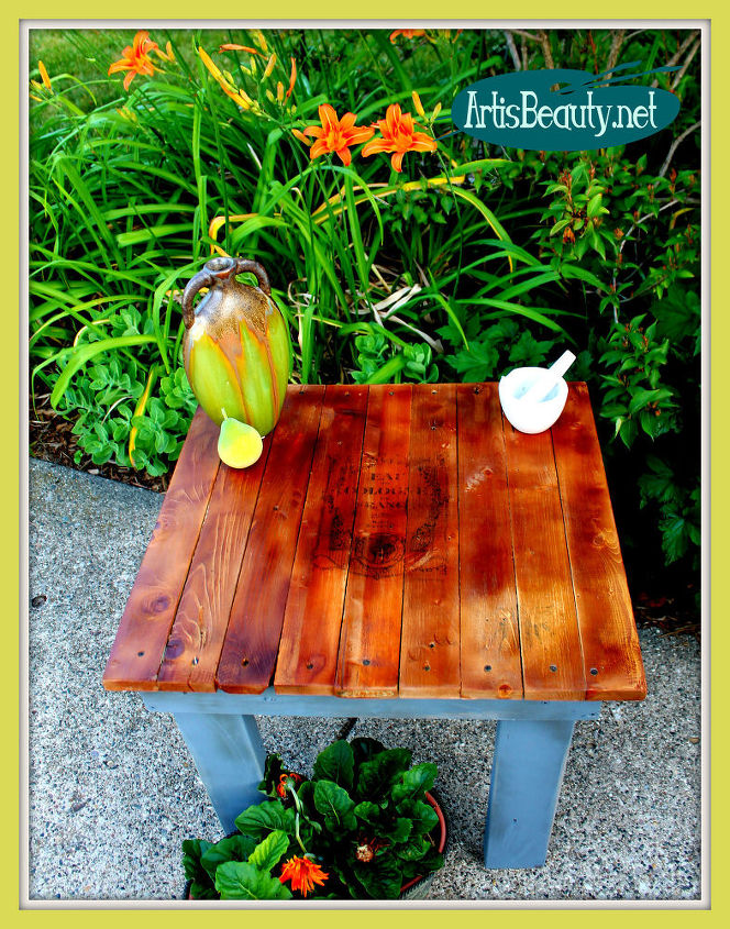 pallet wood end table graphic, diy, how to, painted furniture, pallet, woodworking projects