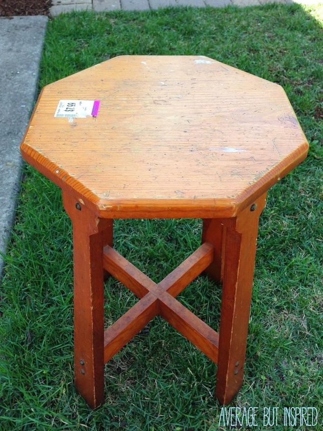 painted furniture stool stencil makeover, chalk paint, painted furniture
