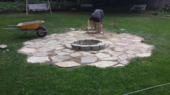 building a backyard fire pit hometalk. Black Bedroom Furniture Sets. Home Design Ideas