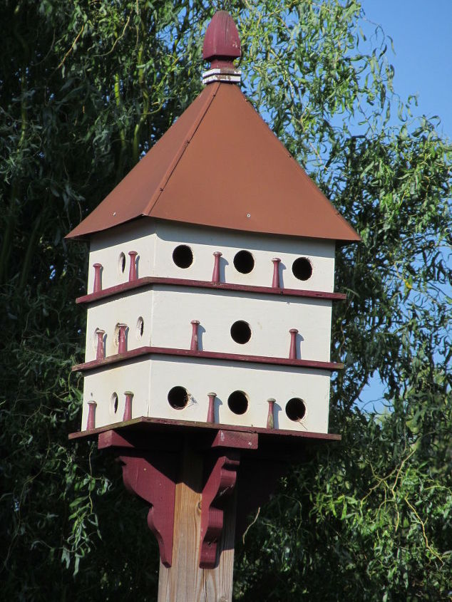 Purple Martin House I built in a woodworking class.  Must admit Dan my husband did a lot of the work, when I discover wood working was not for me.