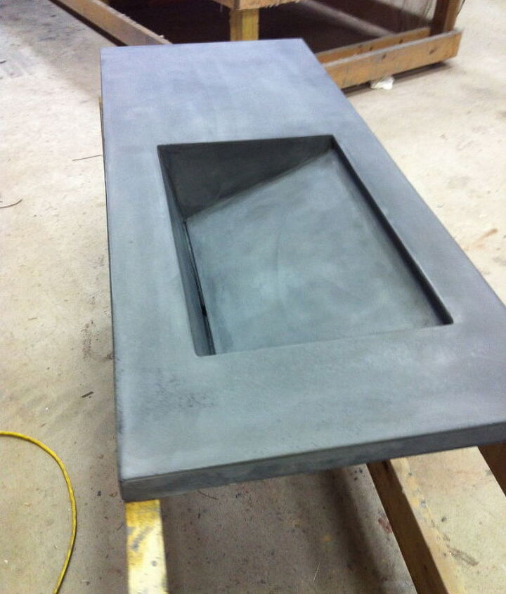 concrete bath vanity with integral sink, bathroom ideas, concrete masonry